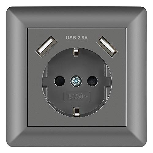 Enchufe Gris 2.8A Schuko Enchufe de pared con USB Toma Corriente pared...