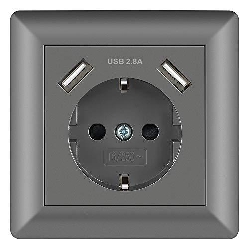 Enchufe Gris 2.8A Schuko Enchufe de pared con USB Toma Corriente pared...