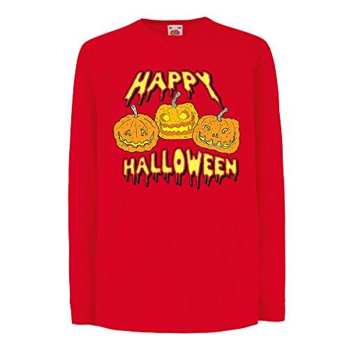 Kinder-T-Shirt mit langen Ärmeln Happy Halloween! Party Outfits & Costume - Gift Idea (7-8 years Rot Mehrfarben)