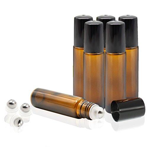 Essential Oil Roller-Flaschen Glas Flakon/Glas Rolle auf Flasche mit Metall Walze Kugeln für Aromatherapie Düfte und Lippenbalsam Container, 6Flaschen Set (10) braun Glas Roller Ball Metall