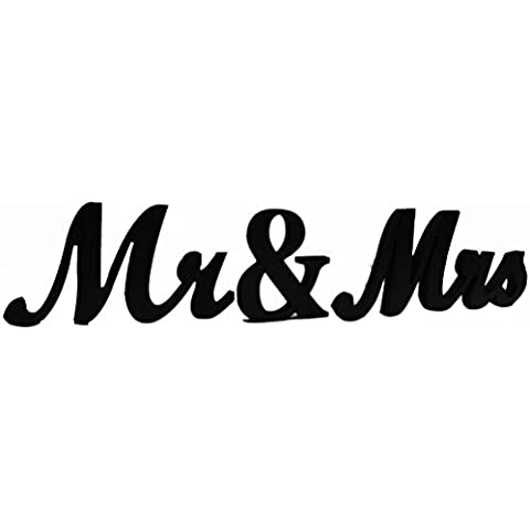 ROSENICE MR MRS Piedi Lettere in Legno Matrimonio Decorazione Partito Presente Nero Forniture