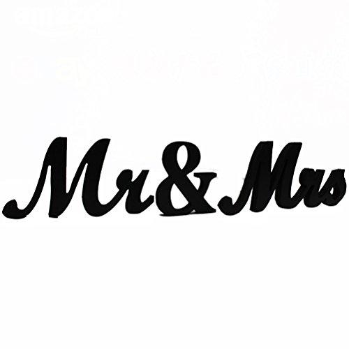 rosenice Mr Mrs Décoration lettres de décoration en bois pour cadeau de mariage (Noir)