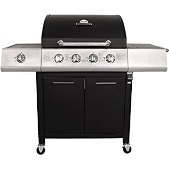 Charles Bentley 5 Burner Premium Gas BBQ Steel Barbecue With Lockable Wheels & Auto Ignition (4 x Burners and 1 x Side Burner) Black