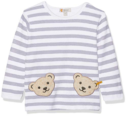 Velours-jumper (Steiff Unisex - Baby Sweatshirt 1/1 Arm, Gestreift, Gr. 80, grau (Steiff Softgrey Melange Gray 8200))