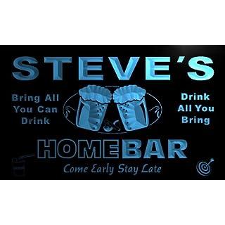 p074-b Steve's Home Bar Beer Family Last Name Neon Light Sign