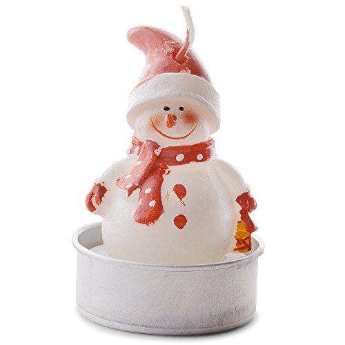 Set de seis muñecos con sombreros de color rojo Navidad té luz vela decoración