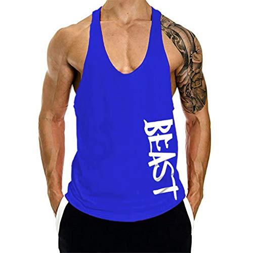 Beonzale Männer Ärmelloses Bodybuilding Shirt Tank Top Tee Singlet Fitness Sport Weste Bedruckte Tank top mit Rundhalsausschnitt Sport Style trainingsanzüge Farben Basic t-Shirt