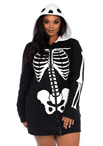 Skelett Avenue Leg Kostüm - Leg Avenue 86697X Plus Size Cozy Skeleton Kostüm, Schwarz/weiß, XXX-Large (EUR 46/48)