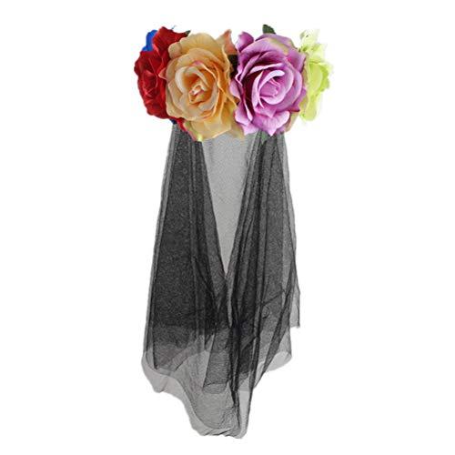 Kostüm Toten Tag Festival Der - Lurrose Rose Floral Crown Schleier Halloween-Kostüm mexikanischen Stirnband Tag der Toten Kopfbedeckung für Festival Karneval Party (bunte Muster)