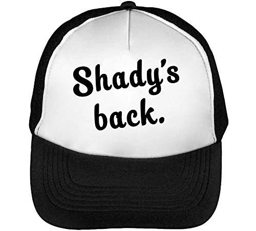Preisvergleich Produktbild Wicked Design Shady's Back Again Typography Trucker Cap Herren Damen Schwarz weiß Snapback One Size