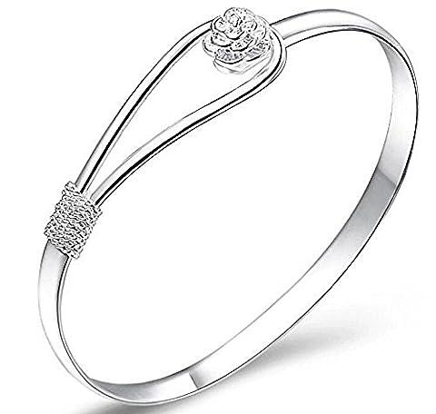 StillCool Bracelet poignet en argent sterling 925 pour femme avec chaînette F ree rose