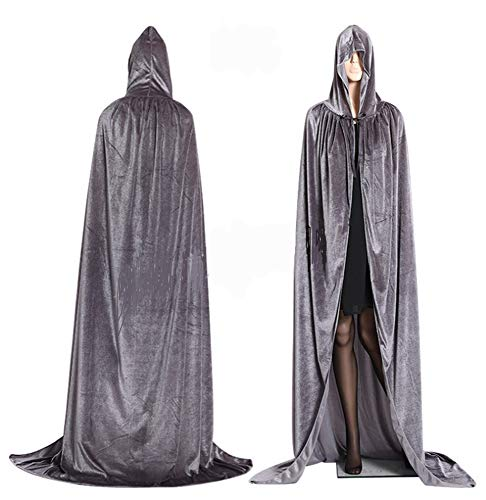 CHSYOO Grauer Kapuzenmantel Langer Umhang mit Kapuzenmantel für Halloween Kostümparty Hexenteufel Vampir Cosplay Kostüm