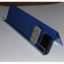 Tris di espositori per accendini tipo Zippo in acrilico rivestito con carta vellutata blu composto da n. 3 espositori rispettivamente lunghezza cm. 20, cm. 30, cm. 40.