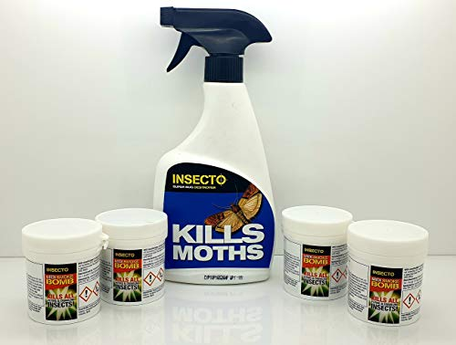 Insecto 4 x Midi Fogger Room Smoke Bombs & 1 x 500 ml polillas Spray Kit