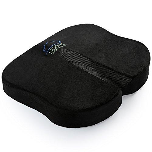 Modvel Rücken & Sitzkissen, für Rückenschmerz, Steißbein und Ischiassyndrom - belüfteter Schaumstoff mit Formgedächtnis- orthopädisches Schmetterlingsdesign -Schwarz - Zu Hause, Büro, Auto (MV-103) -