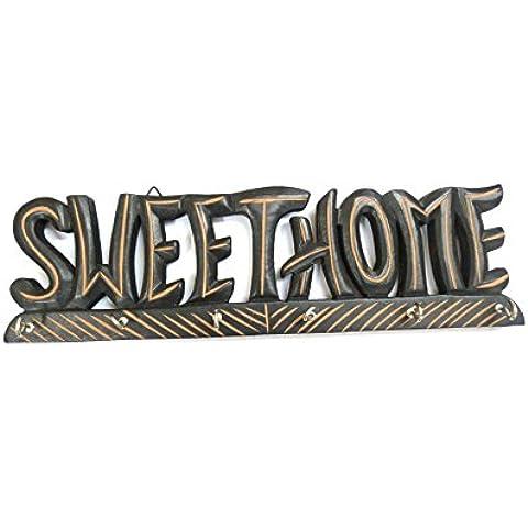Sweet Home diseño de madera tallado a mano para colgar en la pared Llavero con 6ganchos Home Kitchen Decor, regalo para Navidad o cumpleaños a sus seres queridos por Affaires w-40008
