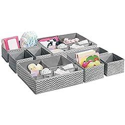 mDesign lot de 8 paniers de rangement pour chambre d'enfant – bacs de stockage en tissu pour objets de bébé – convient comme organiseur de penderie, pour stockage de couches & médicaments – gris/crème