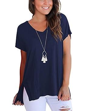 1ba12b6b1e99 Dasbayla Magliette Donna Manica Corta Basic T-Shirt con Scollo A V Tee
