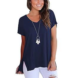 Dasbayla Magliette Donna Manica Corta Basic T-Shirt con Scollo A V Tee