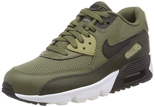 NIKE Air Max 90 Mesh (GS), Scarpe Running Bambino, (Medium Black-Sequoia-Neutral Olive 201), 38.5 EU