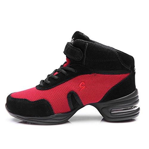 WXMDDN Scarpe da ballo red scarpe da ballo, gli uomini e le donne per aumentare la maglia Scarpa danza Rosso
