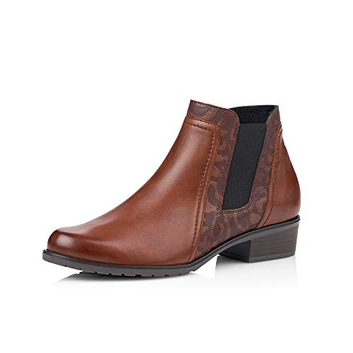 Remonte Damen Stiefeletten D6876, Frauen Chelsea Boots, Stiefel halbstiefel Bootie Schlupfstiefel hoch Damen,Chestnut,37 EU / 4 UK
