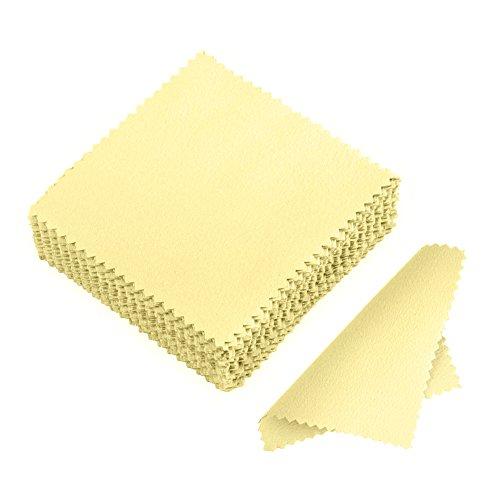 JuanYa 50 Stücke Schmuck Reinigungstuch, Poliertuch für Sterling Silber Gold Platin, Gelb