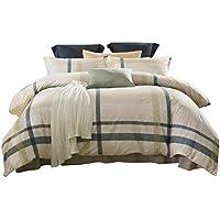Baumwolle Bettwäsche 200 X 220 Cm 4 Teilig Mit Reißverschluss