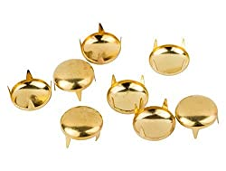 100 x 7mm Gold Round Nail Studs Rivets for Leather Craft Clothing Jeans Bags and Belts by Trimming Shop