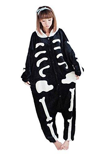 Heißes Unisex-Kostüm für Karneval und Halloween, Cosplay Zoo, Einheitsgröße schwarz Scheletro - Scheletro Kostüm