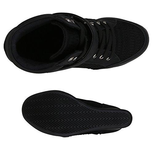 Stiefelparadies Sportliche Damen Sneakers Sneaker Wedges Glitzer Lochung Keilabsatz Schuhe Wedge Sportschuhe Flandell Schwarz Spitze