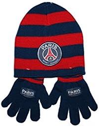 psg-ensemble bonnet gants paris saint germain-bleu et rouge-garçon