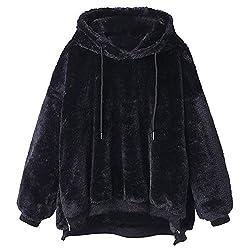 Damen Fleecejacke Sweatjacke Jacke mit Kapuze Oversize Hoody Damen Teddy Hoodie Kapuzepullover Kapuzejacke Fleece Pullover Warme Flauschjacke Frauen übergangsjacke Wintermantel