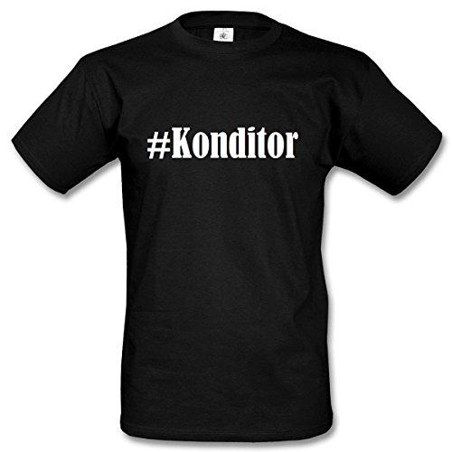 T-Shirt #Konditor Hashtag Raute für Damen Herren und Kinder ... in der Farbe Schwarz Schwarz