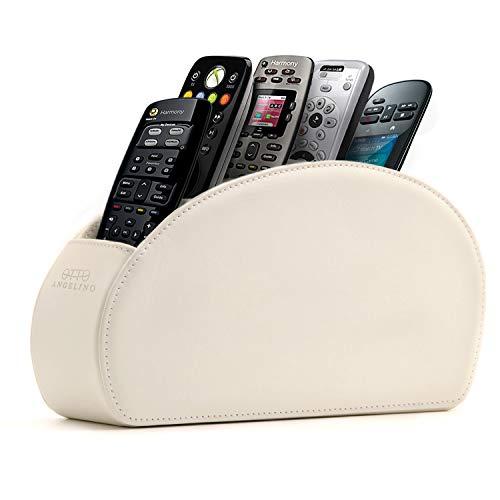 Londo Fernbedienungshalter mit 5 Taschen - Platz für DVD, Blu-Ray, TV, Roku oder Apple TV Fernbedienungen - Leder mit Wildleder Futter - für die Aufbewahrung im Wohn- oder Schlafzimmer - Weiß - Schlafzimmer Modernen Beistelltisch