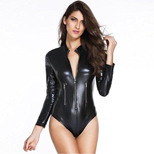Vovotrade feminidad imitación de cuero de una sola pieza de la blusa (M, Negro)