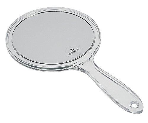 Acryl Hand-Spiegel mit 3-fach Vergrößerung, Kosmetex Kosmetikspiegel mit 2 Seiten, Rückseite 1:1, 3-fach