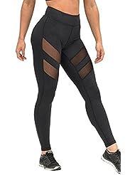Longra Femmes Taille haute Maigre Engrener Yoga pantalon