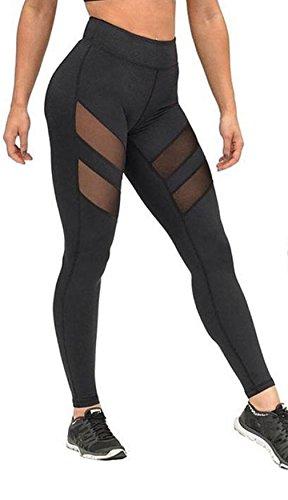 Longra Femmes Taille haute Maigre Engrener Yoga pantalon (S)