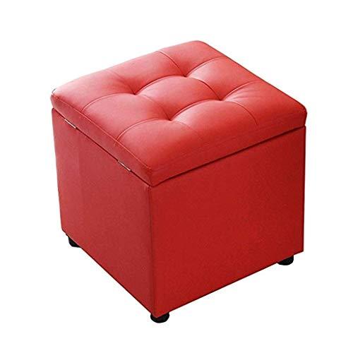 Modernes Design Akzent Stuhl Leder Folding Square Osmanischen Hocker Lagerung Spielzeug Box Hocker (5 Farben) (schwarz) (Color : D) - Osmanischen Schwarz Folding