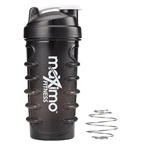 Maximo Fitness - Bottiglia Shaker per Proteine/Borraccia per Frullati/Borraccia per l'Acqua - 650 ml - Design Unico a 'Laccio di Scarpa' per una Presa Sicura - Contiene Sfera per Miscelare