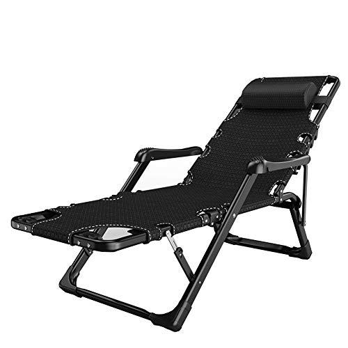 CCDZDM Rocking Lounger Lounge Chair, 180 ° Flach Klappbare Liege, Getränkehalter Auf Einer Seite, Handmassage Und Fußmassage (Farbe: Schwarz + Matte), B, A -
