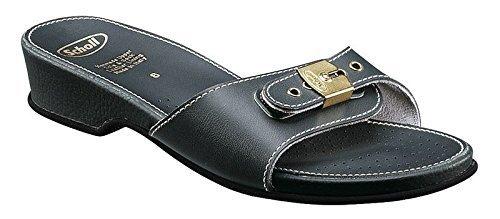 Scholl Size 39 Navy Blue Leather Look Low Heel Women's Sandals