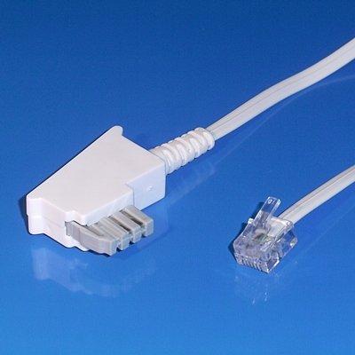 """""""BestPlug"""" 10 Meter Fax-Kabel / TAE-N Stecker auf RJ11 Stecker / Weiss"""