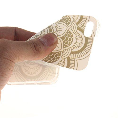 Apple iPhone SE,iPhone 5/5S Silicone TPU en Coque de téléphone , Etsue Nuit Luminous Glow Series Transparent Case Soft Phone Case Cover pour Apple iPhone SE,iPhone 5/5S, [Pissenlit] Motif de Ultra-min Fleur,Blanc