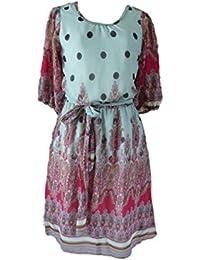 Unique boutique-*jolie robe avec ceinture de couleur rose vert/multicolore taille 32/34/36