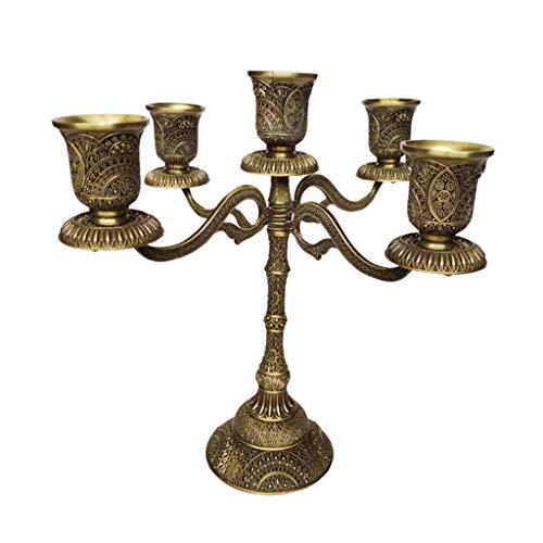 FLAMEER Vintage Kerzenhalter Kerzenleuchter Teelichthalter Tischdekoration für Hochzeit - 5-armig Bronze