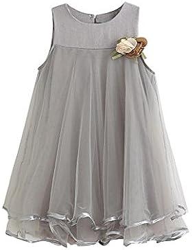Vestido de niña, RETUROM La gasa sin mangas de la muchacha de la manera cubre la ropa de Dress + Brooch