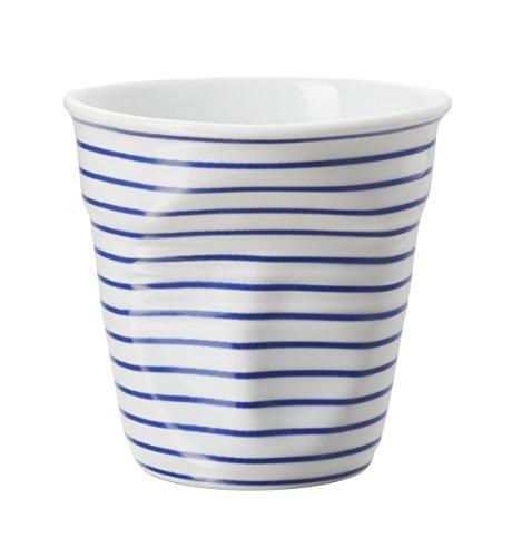 Revol Gobelet Froissé Espresso en Porcelaine 8 Cl avec Rayures Bleu-Foncés, Tasse à Café Expresso, RV646085