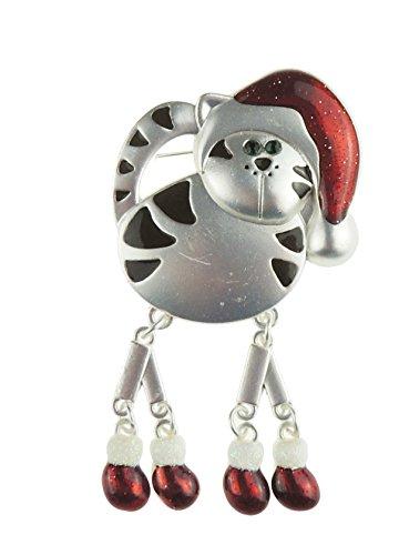 Super Niedlicher Festliche lange Bein Weihnachten Santa Hat Schwarz Weiß gestromt Kitty Cat Revers Brosche -
